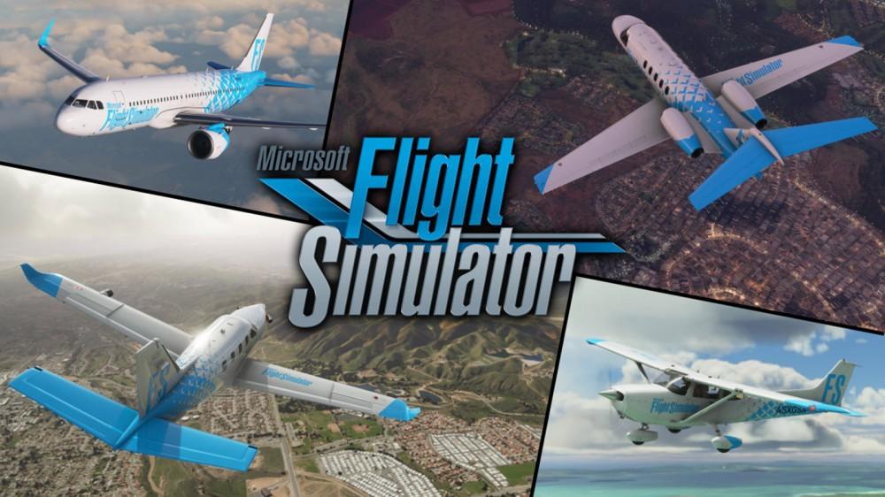 Plusieurs avions volant dans 'Flight Simulator'