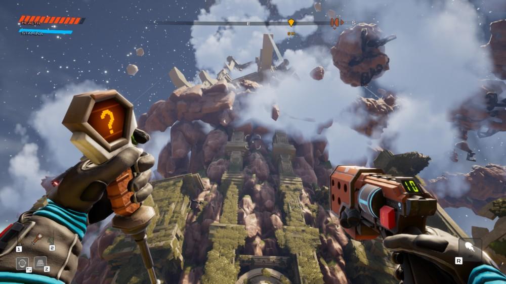 Regardant la tour centrale dans Journey to the Savage Planet