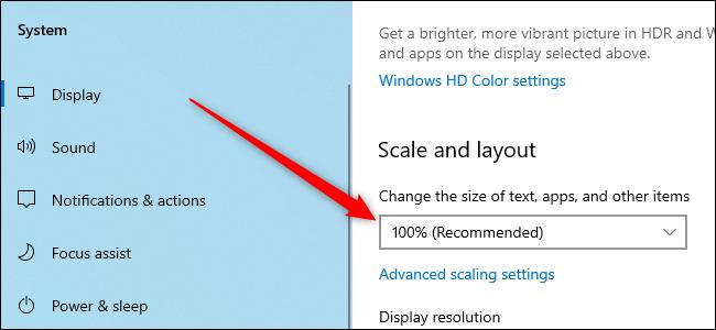 Application Paramètres Windows 10 affichant l'option de mise à l'échelle de l'affichage.
