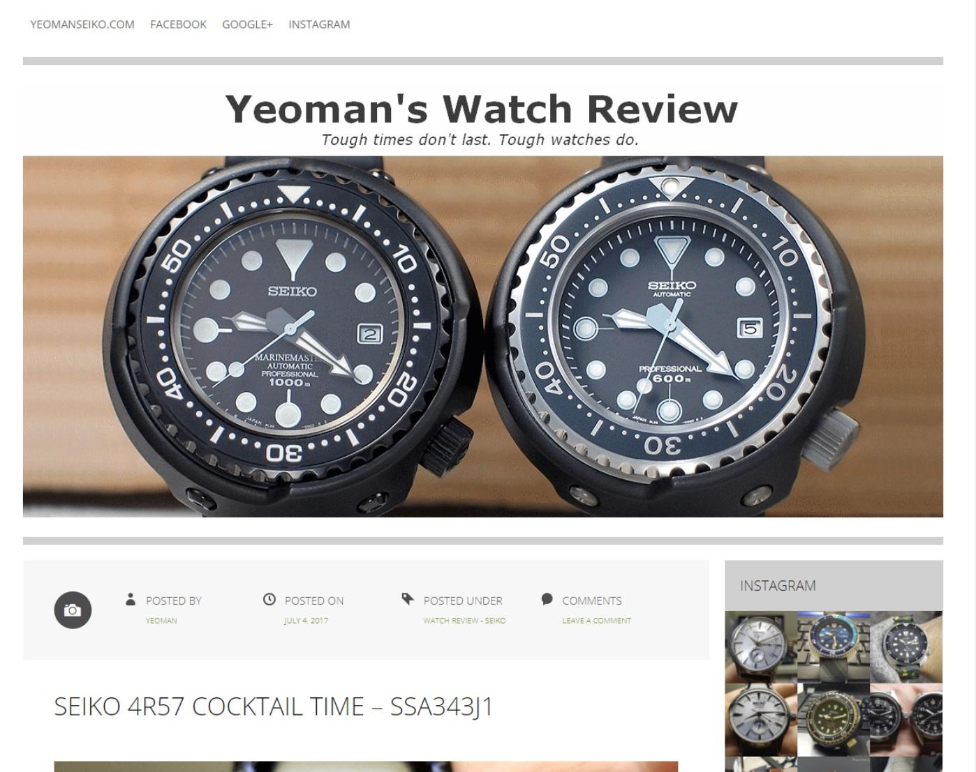 Blog de revue de montre de yeoman