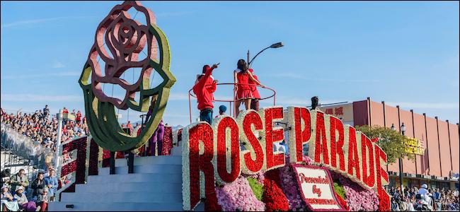 Char de parade rose