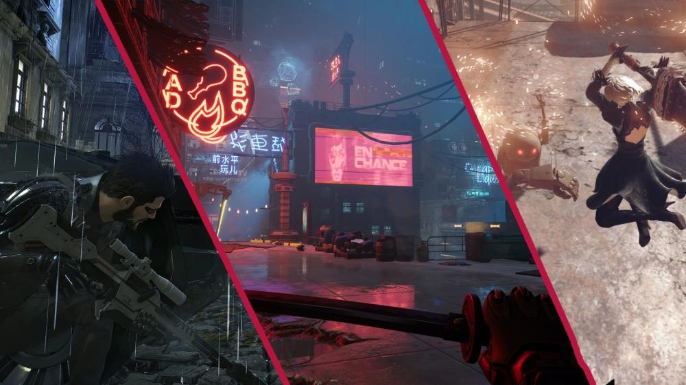 Captures d'écran de Deus Ex: Mankind Divided, Ghostrunner et NieR: Automata dans un collage.