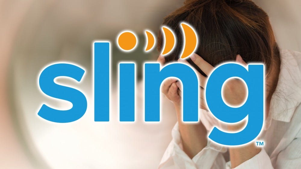 Le logo Sling TV sur une photo d'une personne avec une migrane.