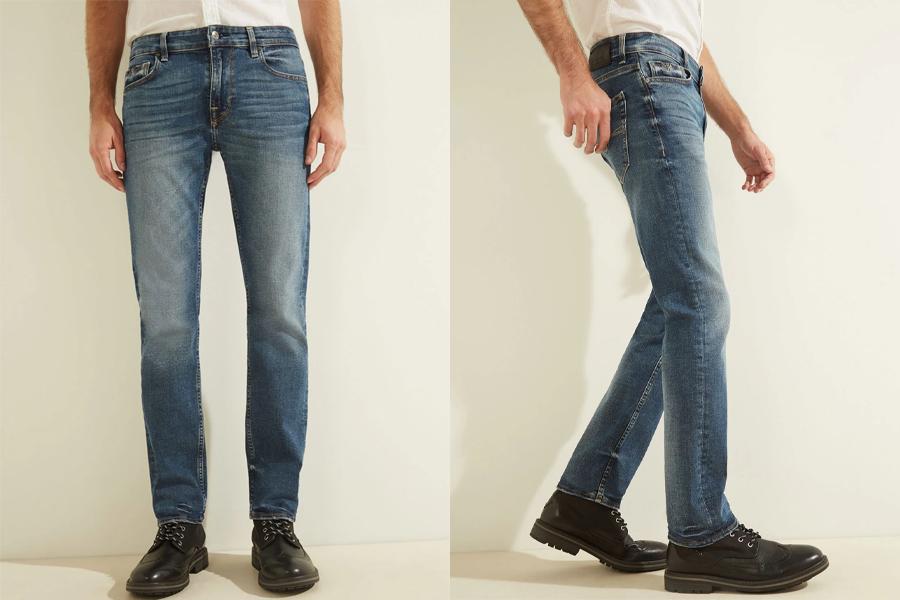 Jean slim droit taille basse en denim bleu stratus