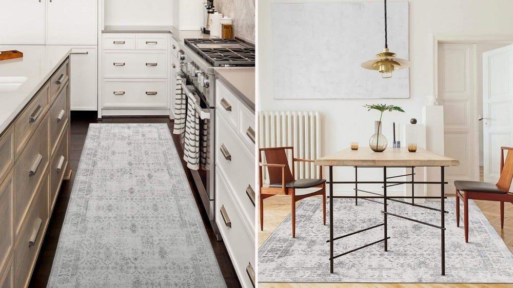 Un tapis de passage entre un îlot et des comptoirs de cuisine, et un grand tapis vieilli sous une table de salle à manger.
