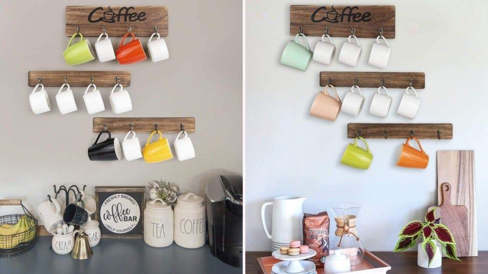 Un support de tasse en bois dans deux configurations différentes contenant diverses tasses à café.