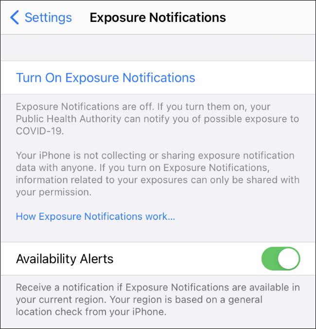 Le paramètre Alertes de disponibilité pour les notifications d'exposition COVID-19 sur iPhone.