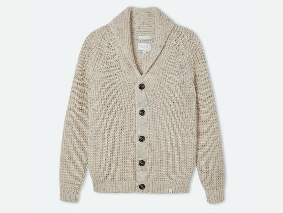 Cardigan en laine gaufré fabriqué au Royaume-Uni