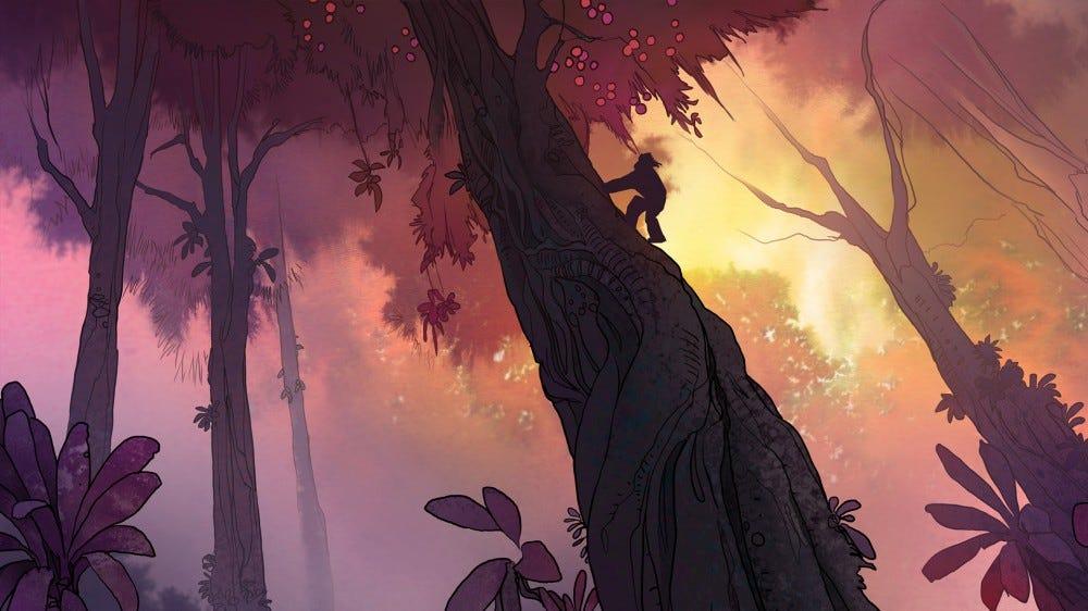 Adult Swim Primal: lance dans un arbre