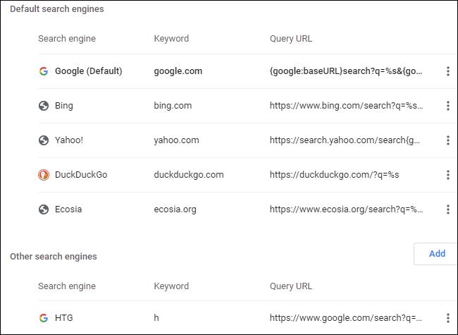 Moteurs de recherche personnalisés dans Google Chrome.