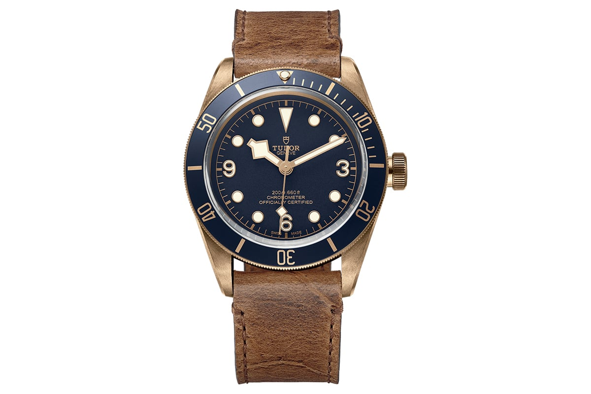 Bracelet en cuir bleu Bucherer Tudor Black Bay Bronze