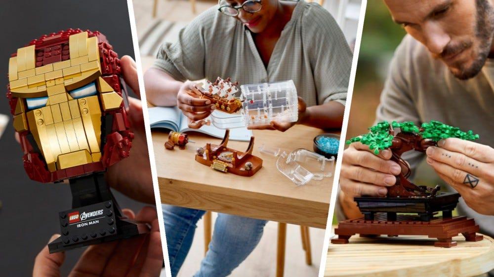 Casque LEGO Marvel Iron Man, Ideas Ship in a Bottle et Creator Expert Bonsai Tree dans un collage