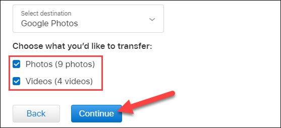 sélectionnez le contenu à copier et cliquez sur continuer