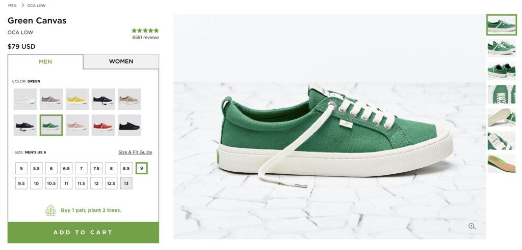 capture d'écran de cariuma shopping chaussures vertes