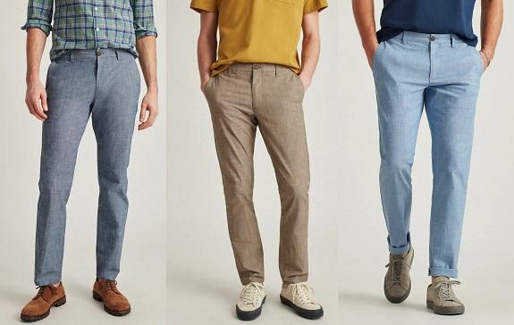 Pantalon en chambray extensible