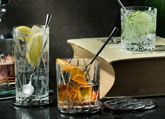 Orrefors City Lot de 4 verres ou verres à whisky à l'ancienne en cristal
