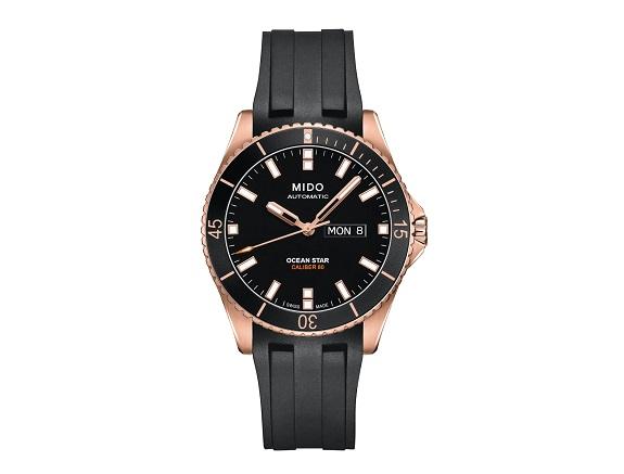 Montre automatique Mido Ocean Star avec bracelet en caoutchouc, 42,5 mm