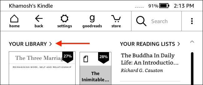 Appuyez sur Votre bibliothèque depuis la page d'accueil Kindle