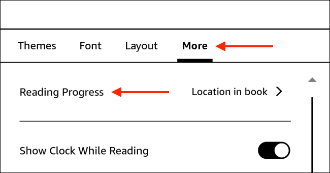 Choisissez l'option de progression de la lecture