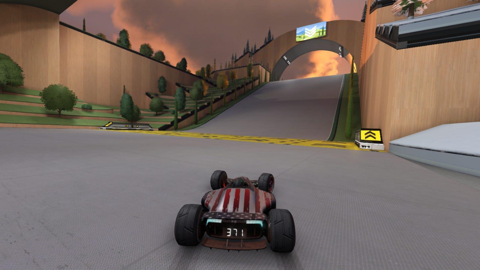 Perspective du joueur en course dans 'Trackmania'