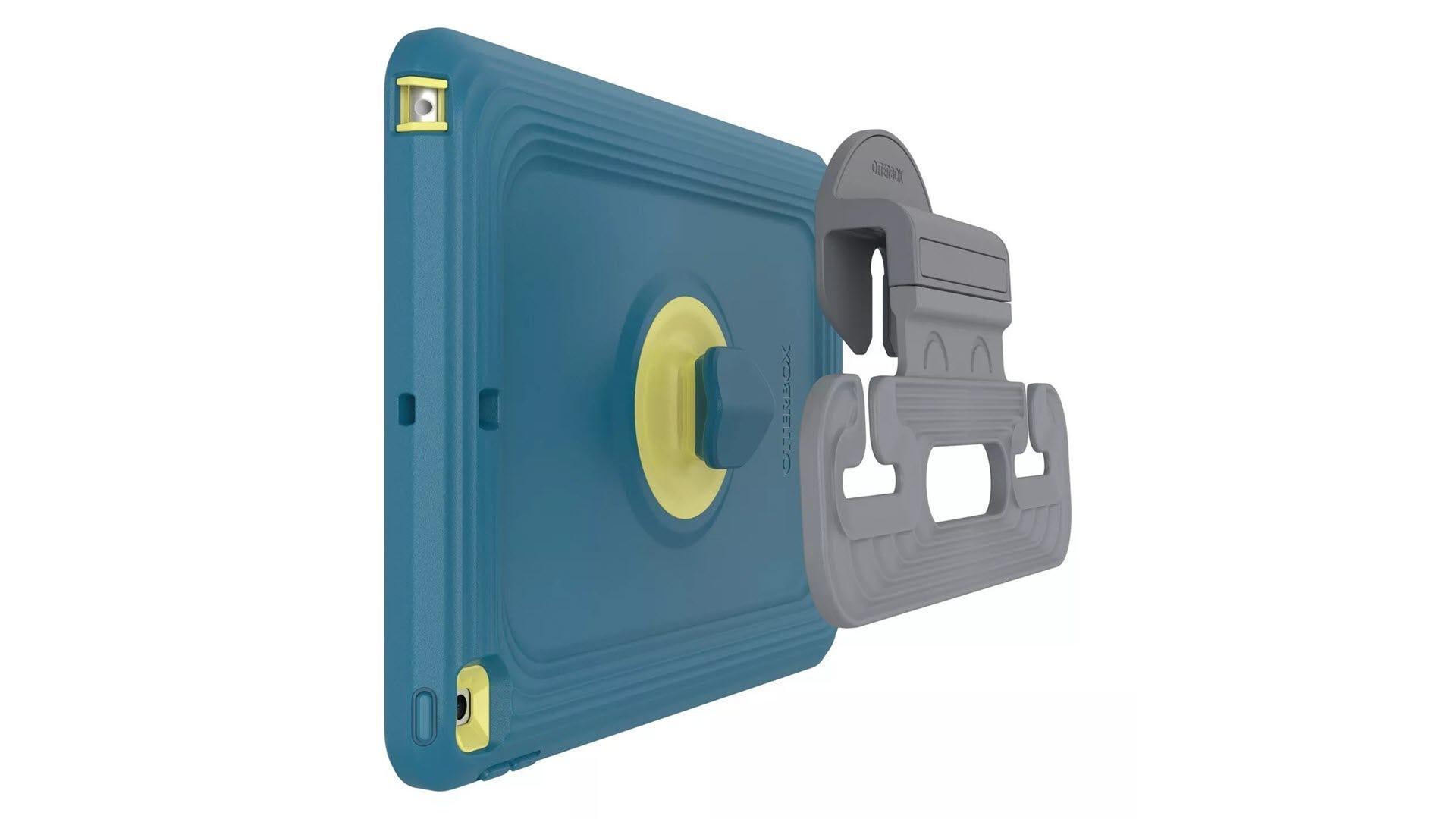 Un étui pour iPad adapté aux enfants avec une béquille amovible.