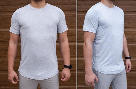 T-shirt ras du cou Airknit à ourlet arrondi en bleu chiné clair
