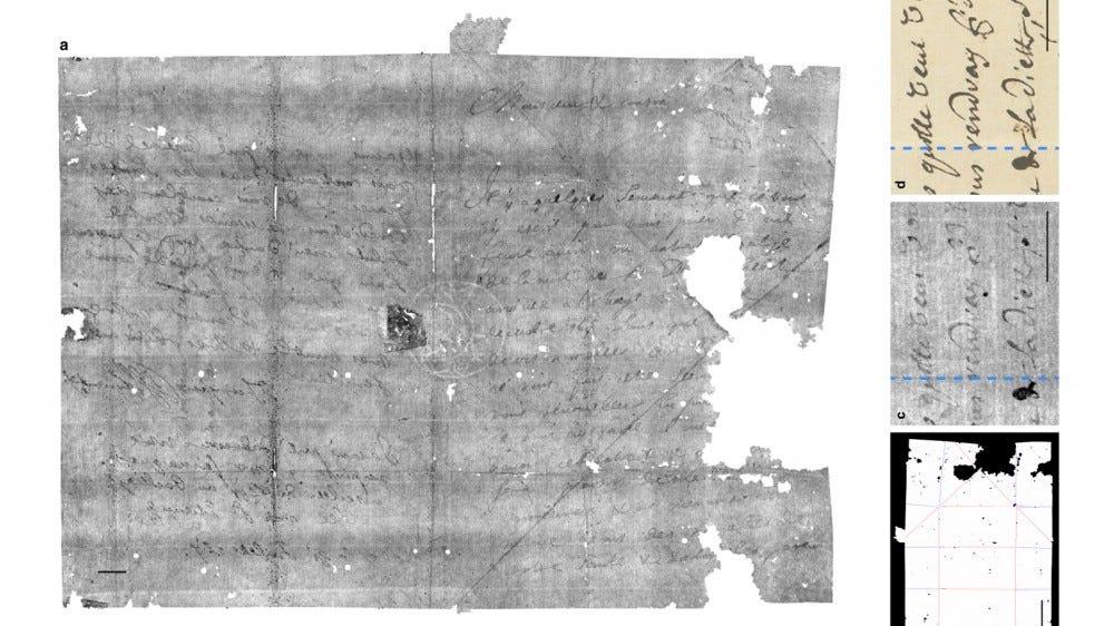 Un scan virtuel d'une lettre des années 1600.