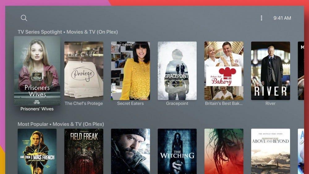 Une série de films et d'émissions télévisées Plex sur une interface Apple TV.