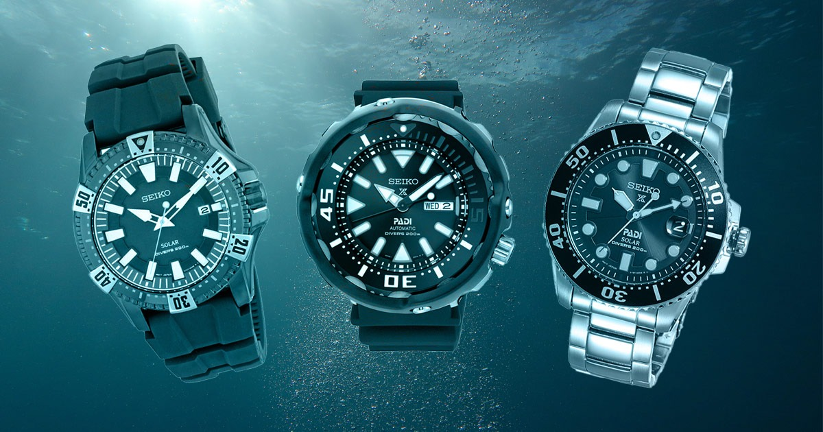 3 montres Seiko sous l'eau