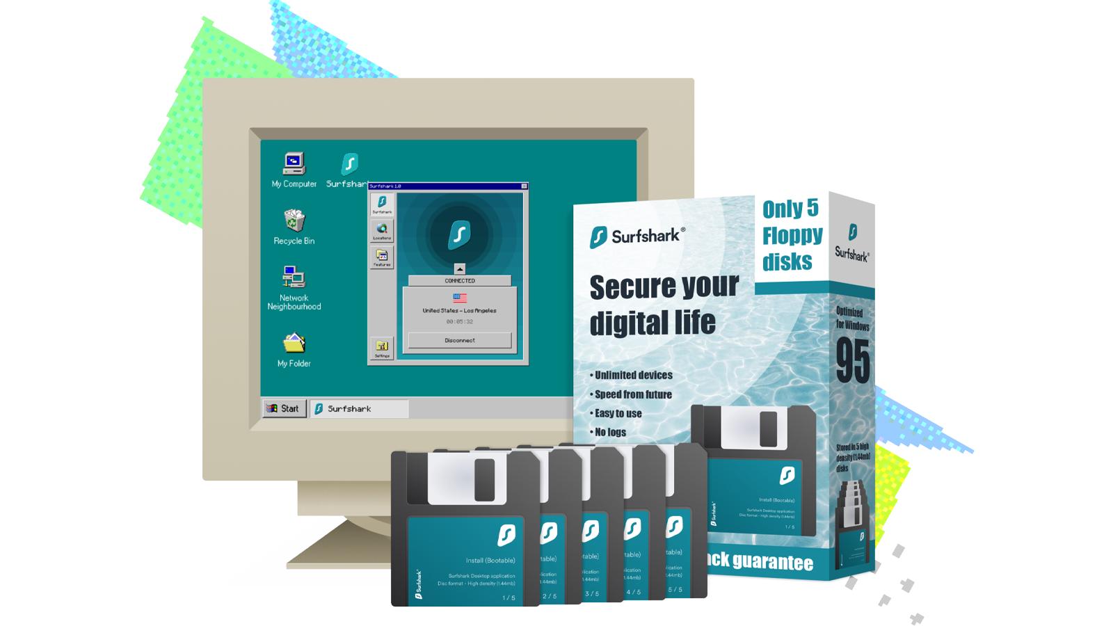 Une illustration de Surfshark pour Windows 95.