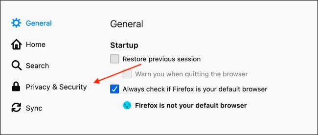 Accédez à Confidentialité et sécurité dans les préférences de Firefox