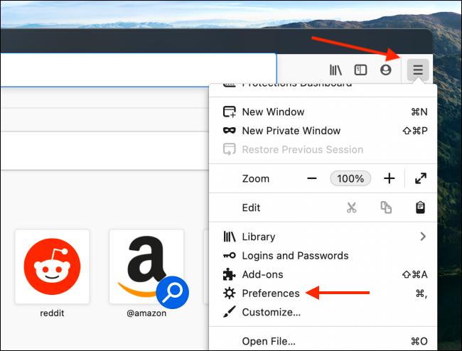 Ouvrir les préférences depuis le menu Firefox