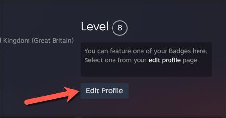 """Sur la page de profil de votre compte Steam, appuyez sur le bouton """"Editer le profil"""" option."""