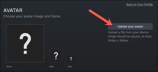 """Dans le """"Avatar"""" menu, appuyez sur le """"Téléchargez votre avatar"""" option."""