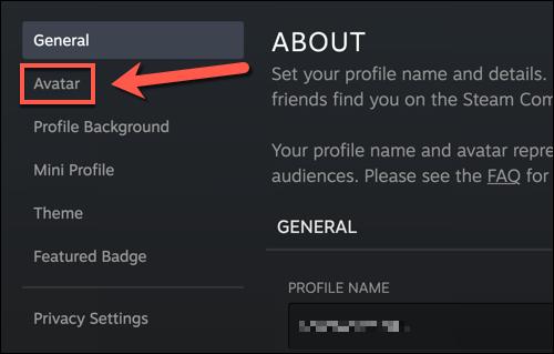 """Dans le menu des paramètres de votre profil Steam, appuyez sur le bouton """"Avatar"""" option."""