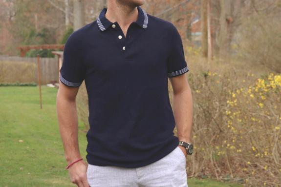 Goodfellow and Co. - Polo en piqué à liseré bleu marine, coupe standard