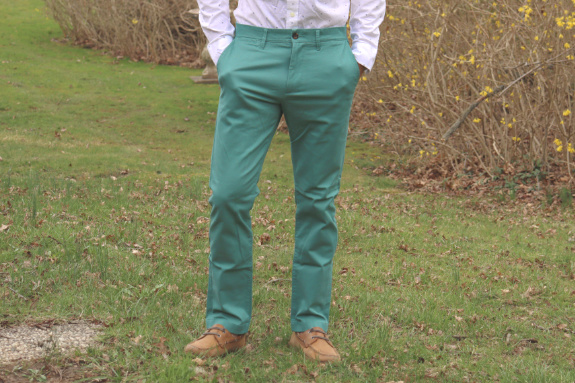 "Pantalon chino slim Hennepin Goodfellow and Co. ""Vert sombre"""
