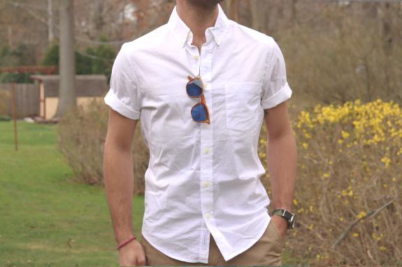 Chemise boutonnée ajustée à manches courtes en popeline extensible Goodfellow and Co.