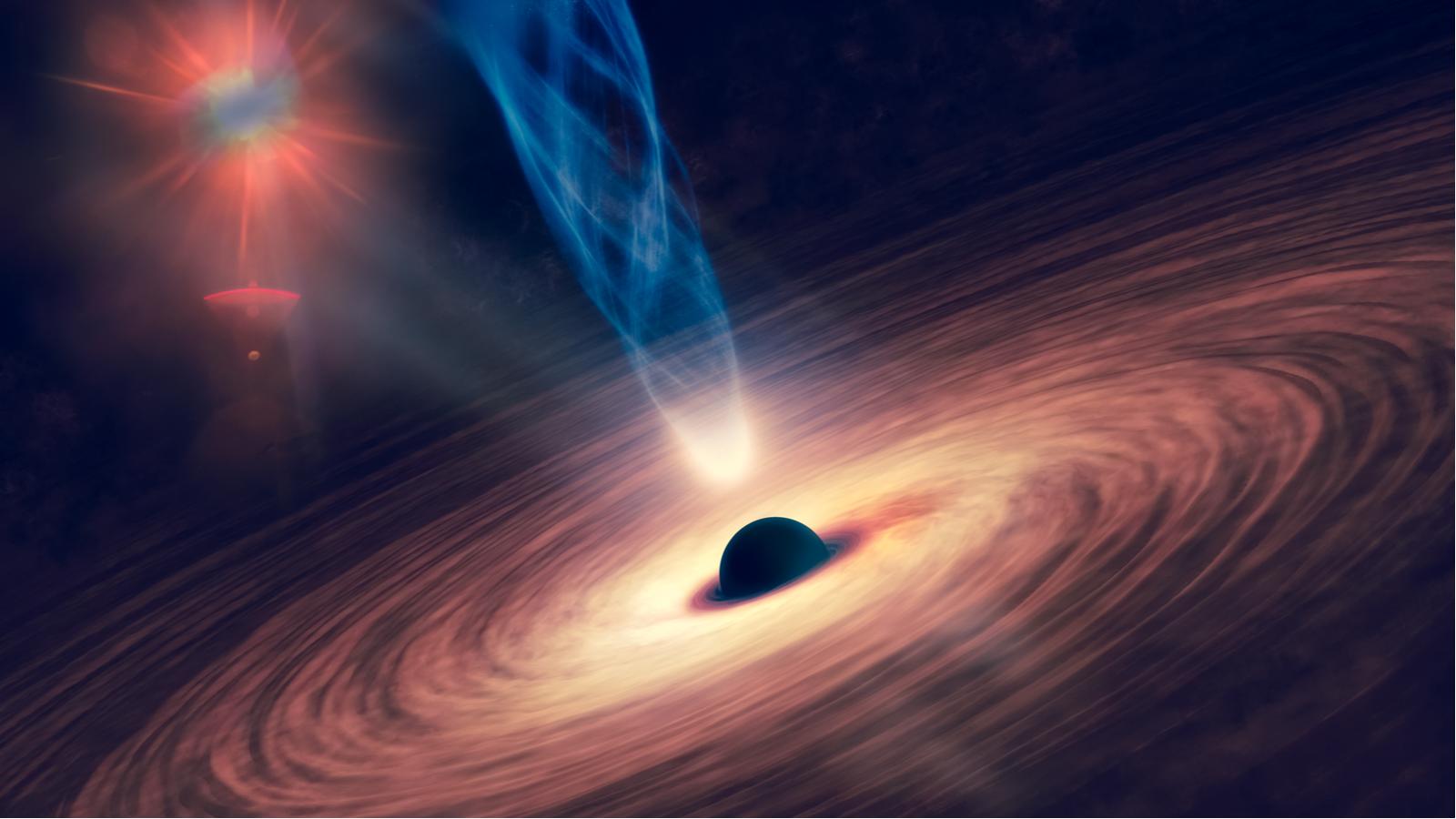 Fond d'écran de l'espace abstrait du trou noir avec nébuleuse sur les étoiles colorées et les champs de nuages dans l'espace extra-atmosphérique