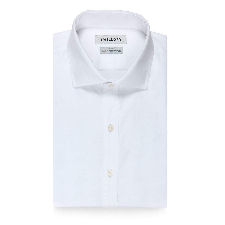 Chemise de ville en sergé blanc sans repassage en sergé