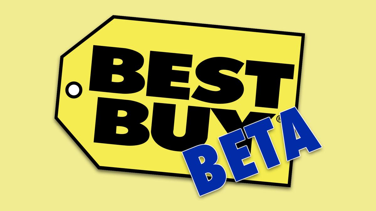 """Le logo Best Buy avec le mot """"Bêta"""" au-dessus."""