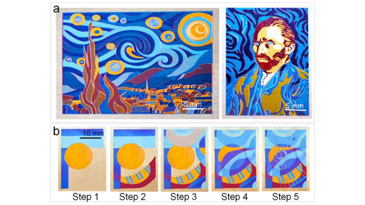 Une photo montrant le processus et les résultats du pinceau laser.