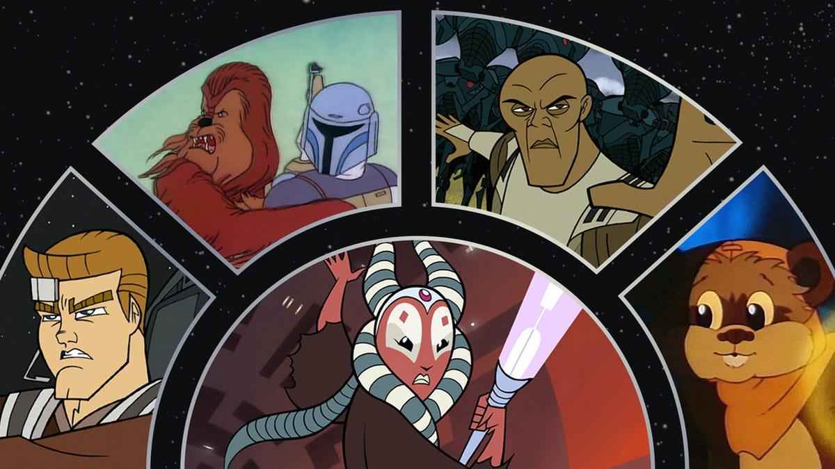 Personnages «Star Wars» de divers dessins animés.
