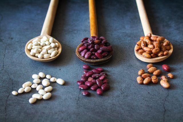 Haricots secs dans des cuillères en bois