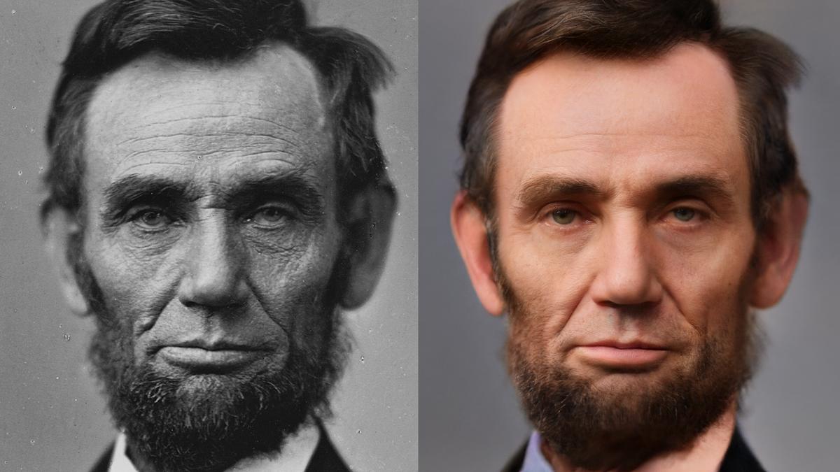 Un Abe Lincoln colorisé par l'IA