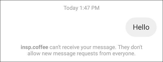 Demande de message désactivée sur Instagram