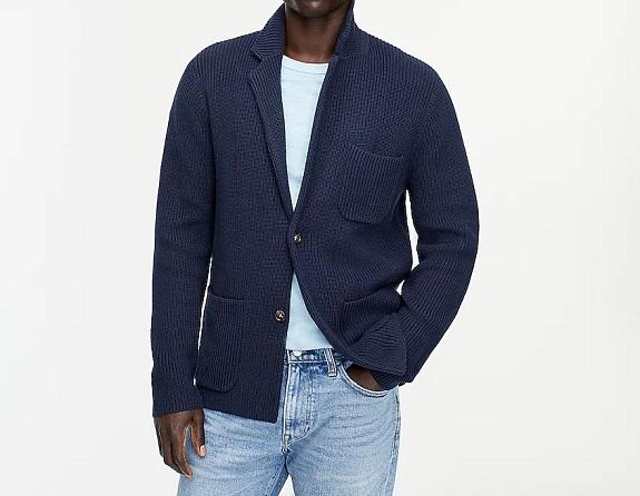 Pull-blazer en coton à poches plaquées
