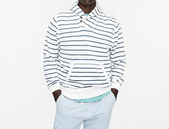 Sweat-shirt à col châle en molleton délavé léger à rayures