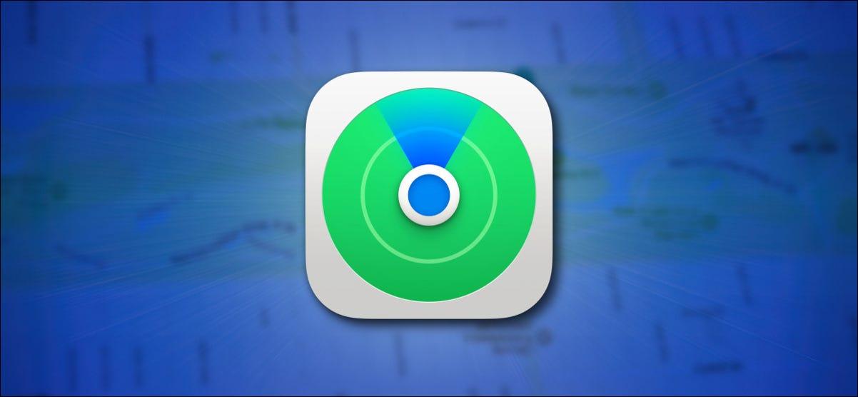 Apple Find My Icon sur fond bleu avec un héros de la carte