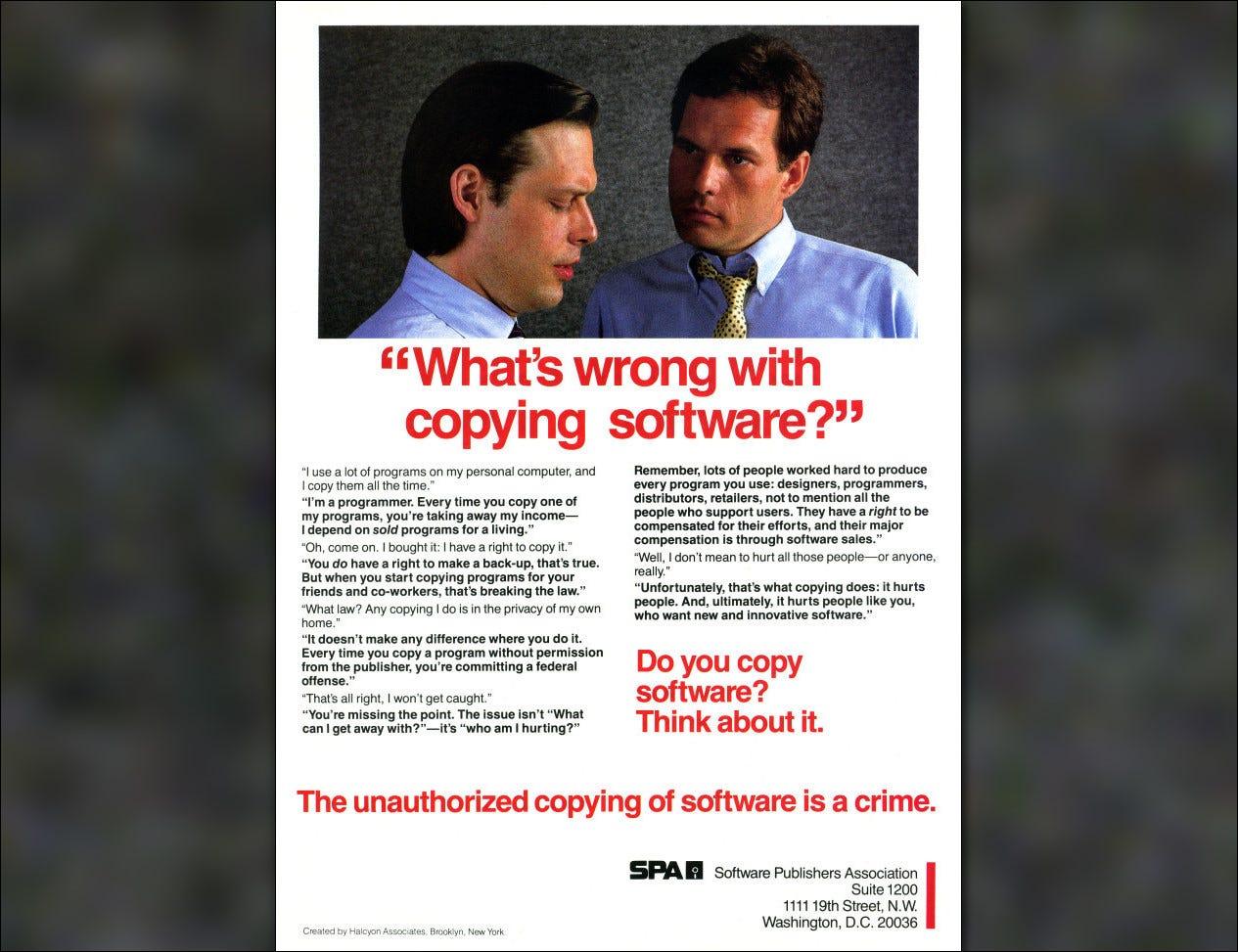 Une publicité anti-piratage de 1984 de la Software Publishers Association.